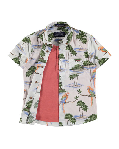 Short-Sleeve Layered Hawaiian Shirt, Red/Multicolor, Size 3-7