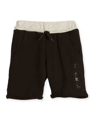 Colorblock Drawstring Sweat Shorts, Black, Size 4-5