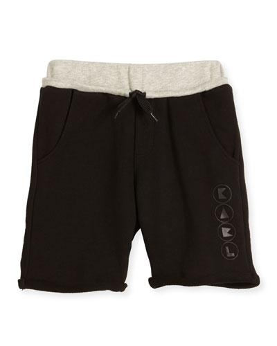 Colorblock Drawstring Sweat Shorts, Black, Size 6-10