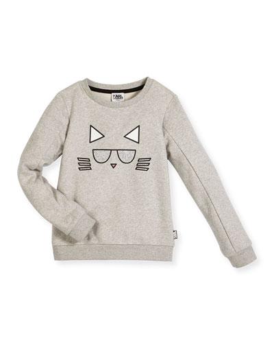 Choupette Crewneck Pullover Sweatshirt, Gray, Size 12-16