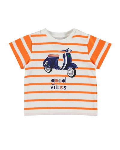 Striped Jersey Good Vibes Scooter Tee, Tangerine, Size 6-36 Months