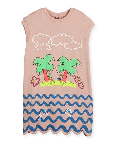 Joni Sleeveless Jersey Beach Dress, Pink, Size 4-10