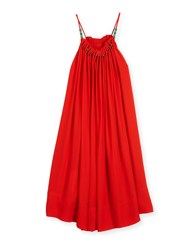 Hope Shirred Crepe Swing Dress, Red, Size 6-14