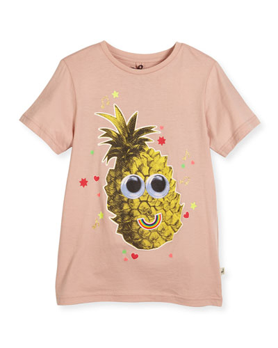 Arlow Smiley Pineapple Jersey Tee, Pink, SIze 4-10