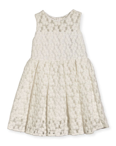 Sleeveless Embroidered Pleated Dress, White, Size 4-7