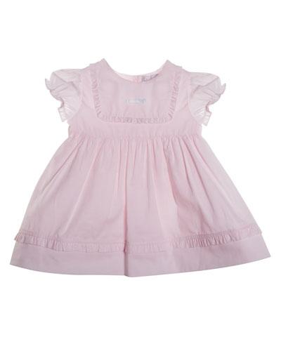 Cap-Sleeve Smocked Poplin Dress, Pink, Size 3-12 Months