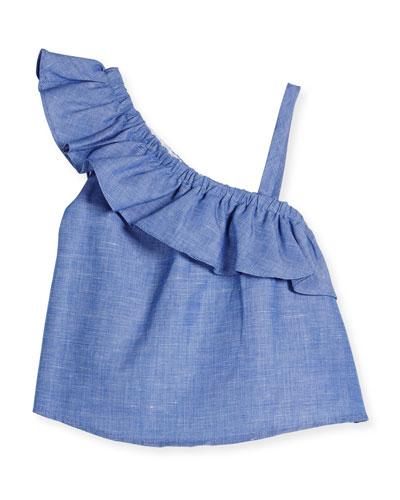 Ruffle-Trim Chambray Top, Blue, Size 8-16