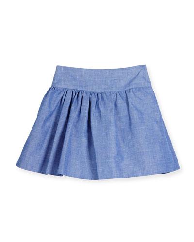 Smocked Chambray Flare Skirt, Blue, Size 8-16