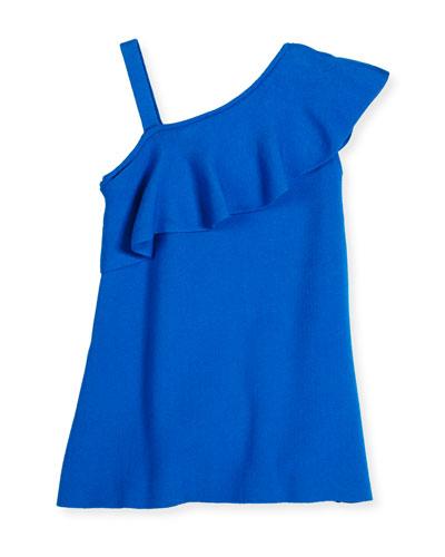 Asymmetric Ruffle-Trim Shift Dress, Turquoise, Size 8-14