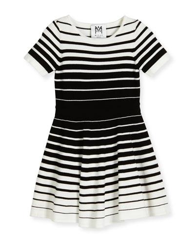 Short-Sleeve Striped Knit Circle Dress, Black/White, Size 4-7