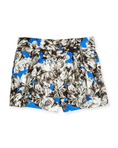 Pleated Peony Shorts, Cobalt, Size 8-14