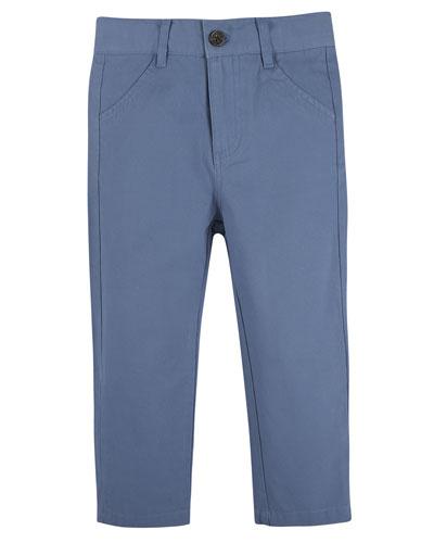 Stretch Twill Straight-Leg Pants, Blue, Size 2-7