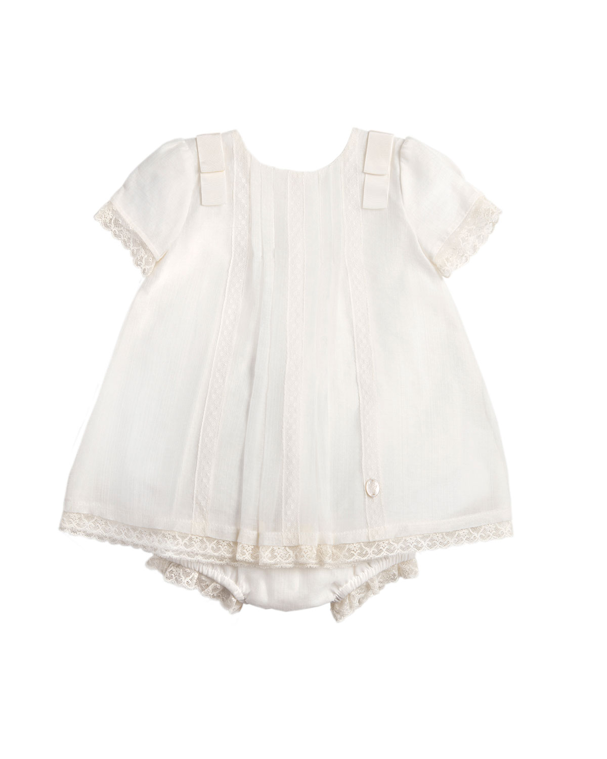 Short-Sleeve Lace-Trim Dress w/ Bloomers, White, Size 3-18 Months