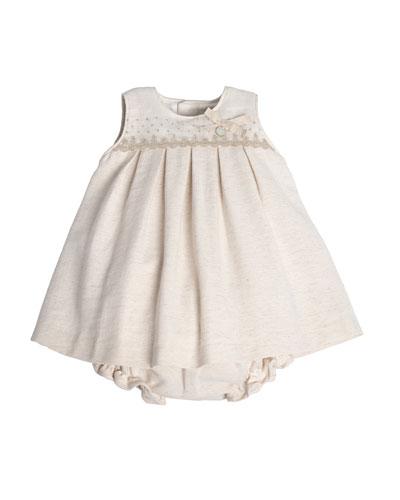 Sleeveless Pleated Shift Dress w/ Bloomers, Beige, Size 3M-3