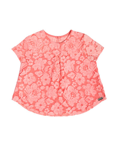 Short-Sleeve Boxy Lace Top, Pink, Size 4-10