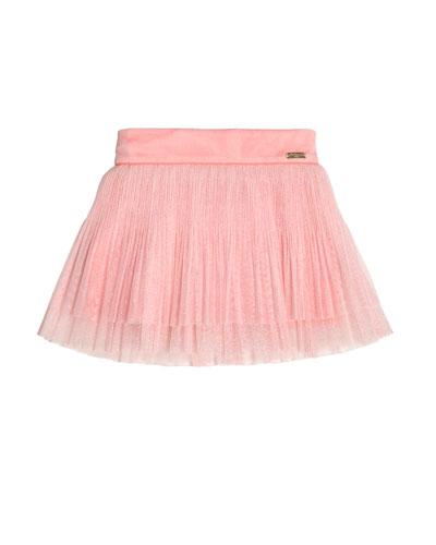 Metallic Tulle Plissé Skirt, Pink, Size 4-10