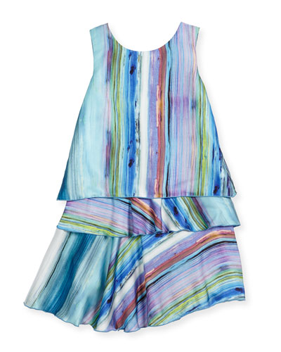 Sleeveless Striped Layered Shift Dress, Blue, Size 7-16