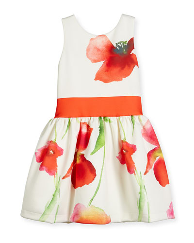Sleeveless Floral Smocked Ponte Dress, White/Coral, Size 4-6X