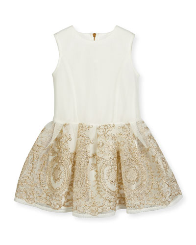 Sleeveless Embroidered Mesh Tulle Dress, White, Size 4-10