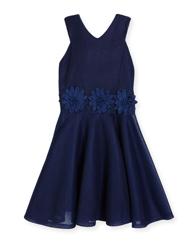 Sleeveless Floral Mesh Circle Dress, Blue, Size 8-16