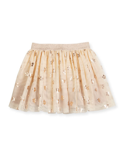 Honey Tulle Metallic Daisy Skirt, Beige, Size 4-10