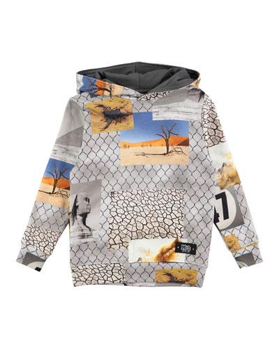 Matty Hooded Fence Sweatshirt, Gray, Size 4-12