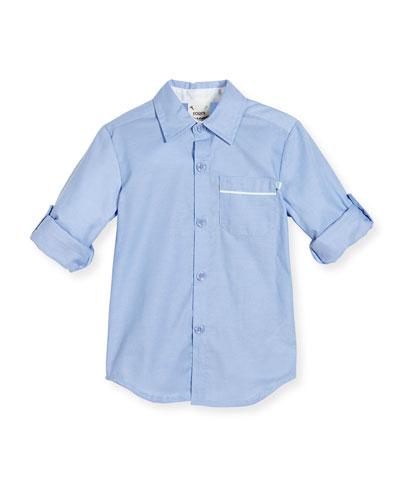 Long-Sleeve Cotton Oxford Shirt, Blue, Size 2-8