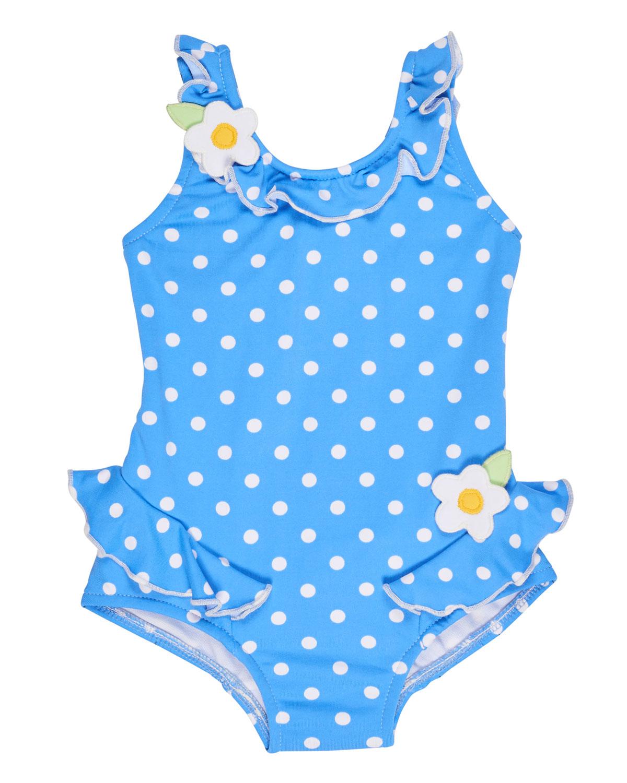 Polka-Dot Ruffle Swimsuit, Blue, Size 2T-4T