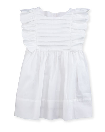 Carrie Ruffled Poplin Dress, White, Infant/Toddler