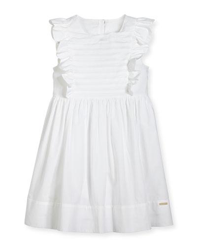 Carrie Ruffled Poplin Dress, White, 4-14