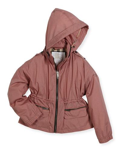 Denee Lightweight Zip-Front Raincoat, Blush, Size 4-14