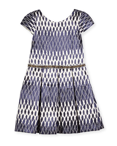 Cap-Sleeve Pleated Ikat Jacquard Dress, Navy, Size 4-6