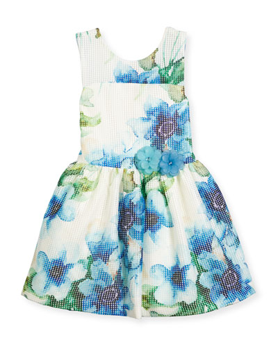 Sleeveless Floral Perforated Mesh Dress, Blue/White, Size 4-6X
