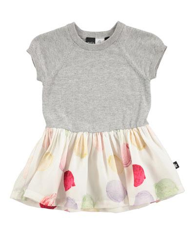 Calias Raglan Mixed-Media Dress, White/Gray, Size 12-24 Months