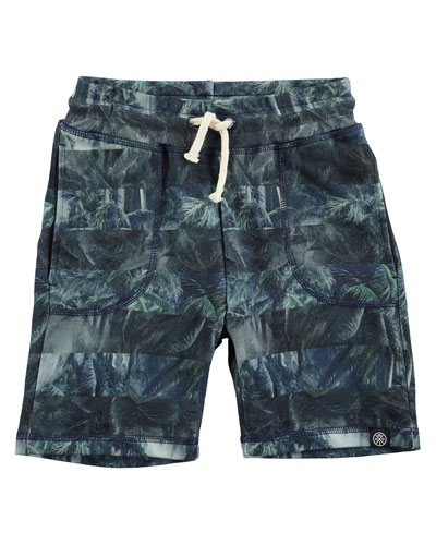 Ajaz Palm Tree Stripe Drawstring Shorts, Green, Size 4-12