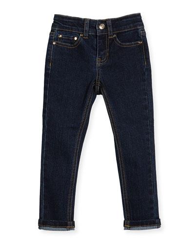 stretch denim skinny jeans, indigo, size 2-6