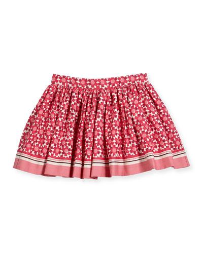 smocked floral tile skirt, multicolor, size 2-6