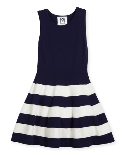 Sleeveless Striped Fit-and-Flare Sweaterdress, Navy, Size 8-16