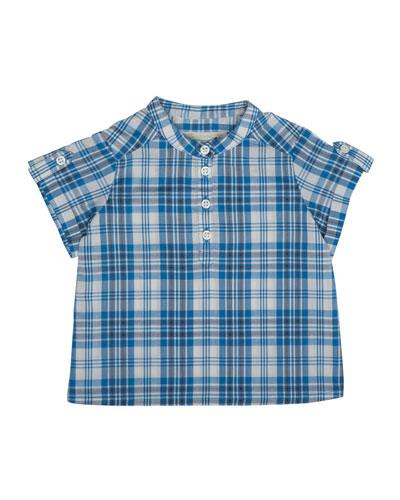 Emilio Short-Sleeve Check Shirt, Blue, Size 6M-2