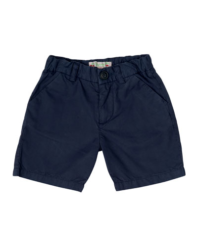 Cotton Twill Shorts, Navy, Size 6M-2