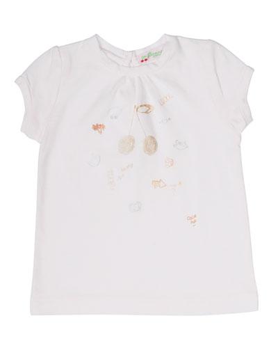 Short-Sleeve Cotton Jersey Cherries Tee, Pink, Size 6-24 Months