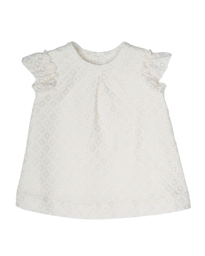 Sleeveless Metallic Eyelet Blouse, White, Size 6M-2