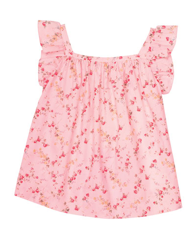 Elise Sleeveless Floral Blouse, Pink, Size 3-8