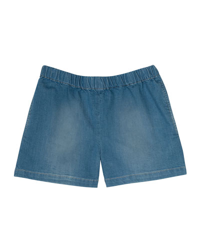 Enjoy Faded Denim Shorts, Blue, Size 3-8