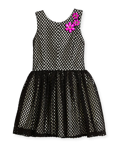 Sleeveless Smocked Mesh Dress, Black/White, Size 4-6X