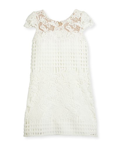 Cap-Sleeve Venetian Lace Shift Dress, White, Size 7-16