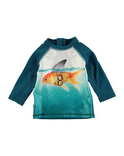 Long-Sleeve Ponte Goldfish Rashguard, Blue, Size 3-24 Months