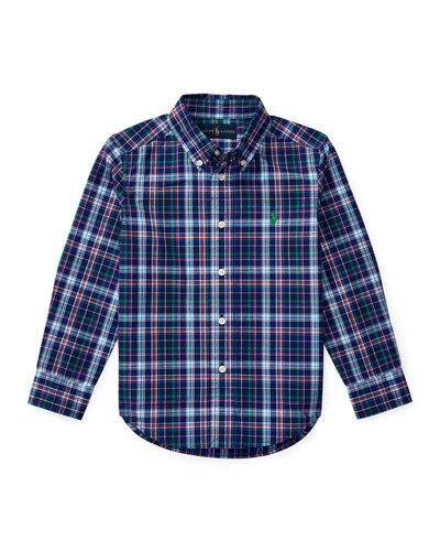 Long-Sleeve Plaid Cotton Poplin Shirt, Royal Blue/Multicolor, Size 2-4