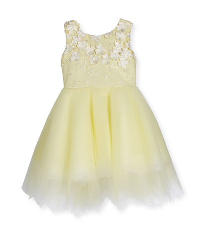 Belle Sleeveless Embroidered Tulle Dress, Yellow, Size 7-12