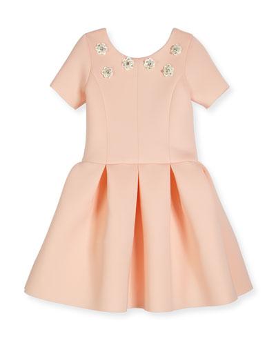 Meg Short-Sleeve Pleated Scuba Dress, Blush, Size 4-6